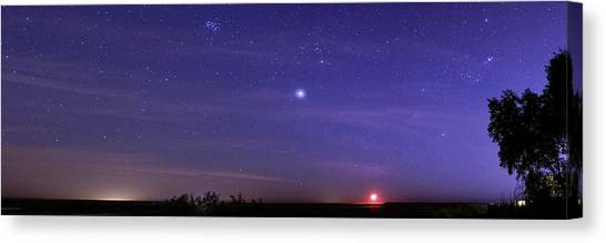 Jupiter Canvas Print - Night Sky And Setting Moon by Luis Argerich