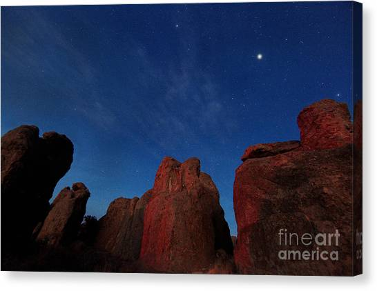 Night Sky City Of Rocks Canvas Print