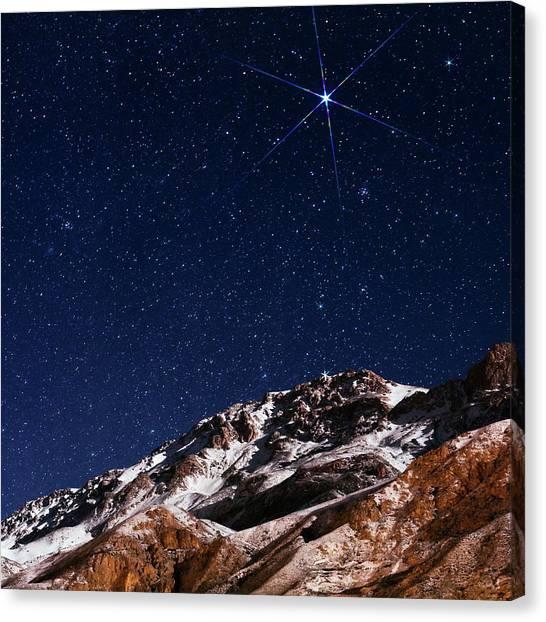 Night Caps Canvas Print - Night Sky Over The Alborz Mountains by Babak Tafreshi