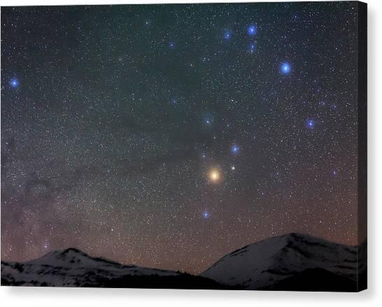 Night Caps Canvas Print - Night Sky Over The Alps by Babak Tafreshi