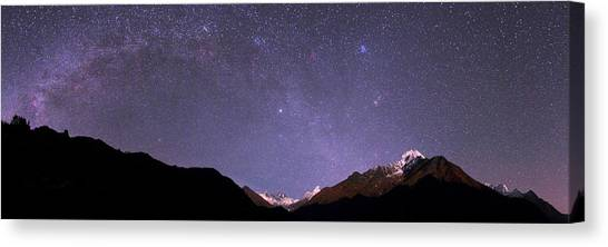 Mount Everest Canvas Print - Night Sky Over The Himalayas by Babak Tafreshi