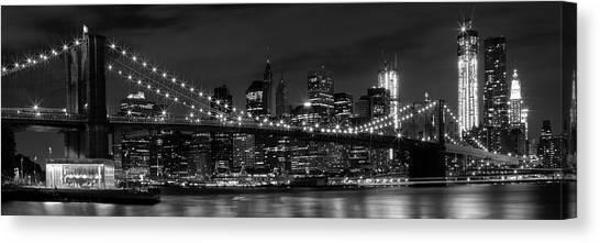 Ny Canvas Print - Night-skyline New York City Bw by Melanie Viola