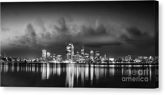 Perth canvas print night skyline by phill petrovic