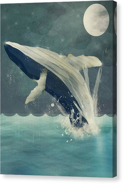 Blue Whales Canvas Print - Night Swimming by Bri Buckley