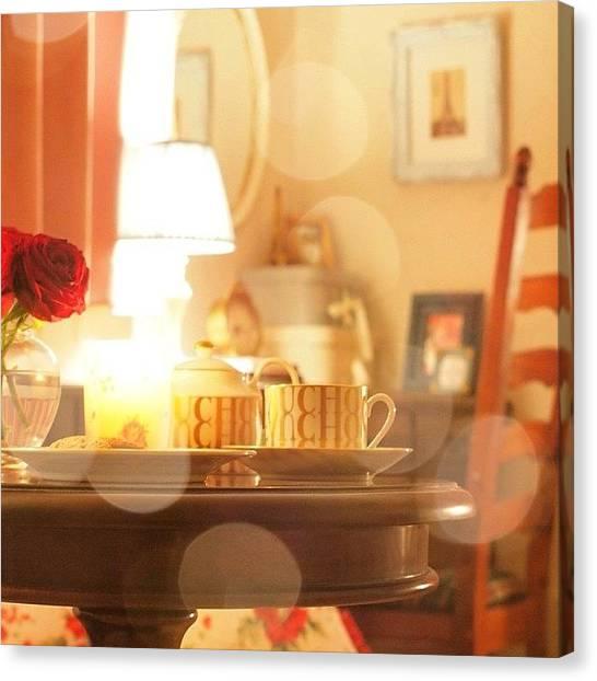 Tea Time Canvas Print - #night #tea #time #at #my #room by Momoko Hasegawa