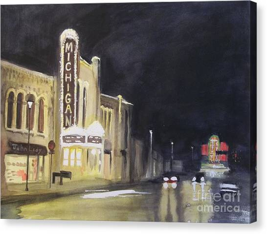 Night Time At Michigan Theater - Ann Arbor Mi Canvas Print