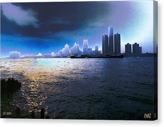 Night Time On The Detroit River Canvas Print