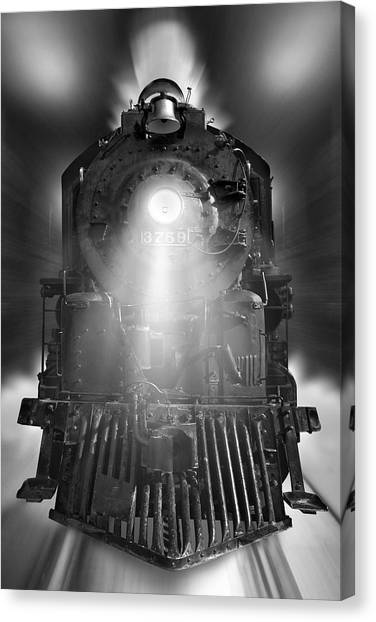 Night Train On The Move Canvas Print