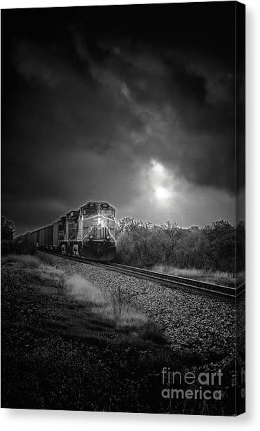 Stock Cars Canvas Print - Night Train by Robert Frederick