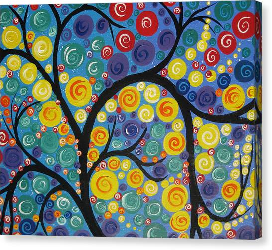 Living With Joy Canvas Print - Night Tree by Cathy Jacobs