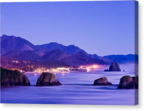 Night View Of Cannon Beach Canvas Print