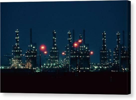 Night View Of Ici Chemical Works Canvas Print by Martin Bond/science Photo Library