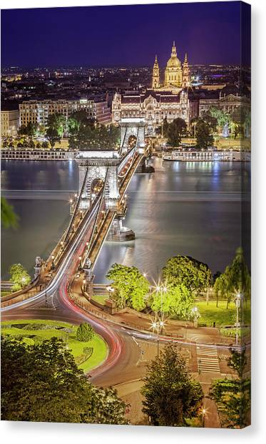 Night View Of Pest From Buda Hill Canvas Print