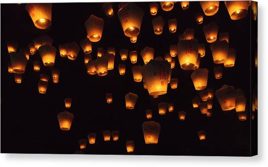 Chinese New Year Canvas Print - Night View Of Sky Lanterns In The Air by Keren Su