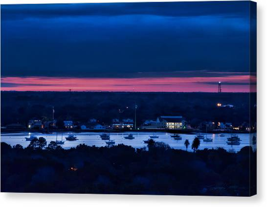 Night View Of St. Augustine Bayfront South Canvas Print