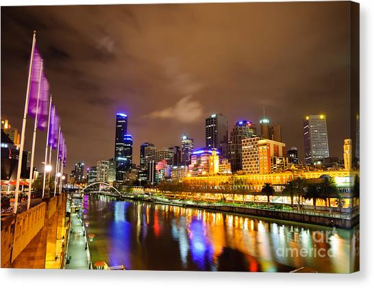 Night View Of The Yarra River And Skyscrapers - Melbourne - Australia Canvas Print
