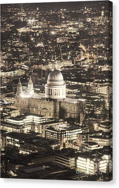 Night View Over St Pauls Canvas Print