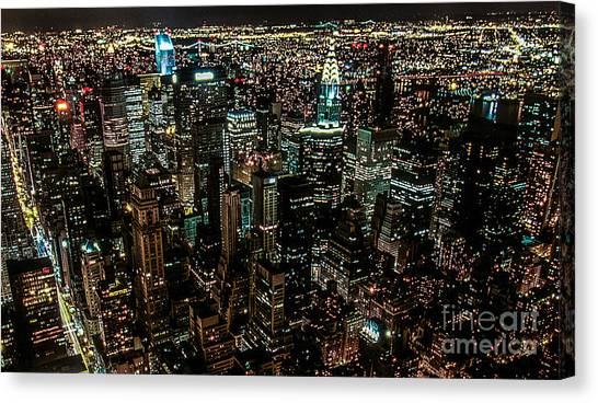 Night View From Empire State Building Canvas Print by Kim Lessel