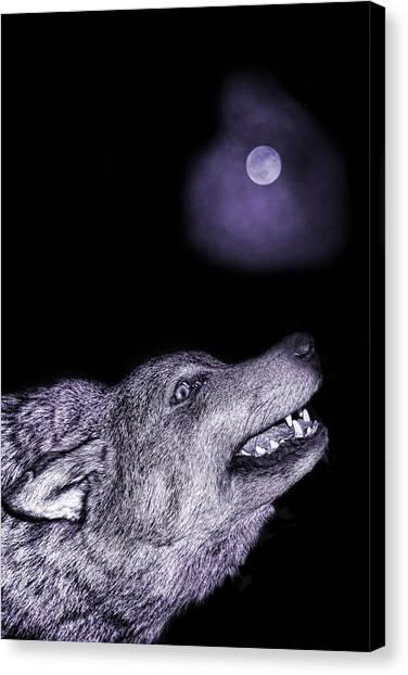 Wolf Moon Canvas Print - Night Wolf by Angel Jesus De la Fuente