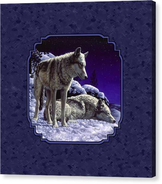 Dogs In Snow Canvas Print - Night Wolves Painting For Pillows by Crista Forest