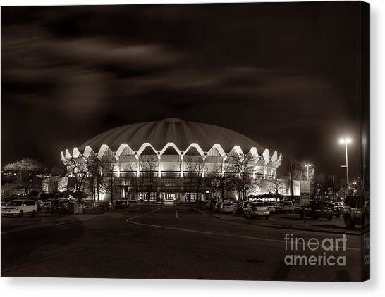 night WVU Coliseum basketball arena Canvas Print