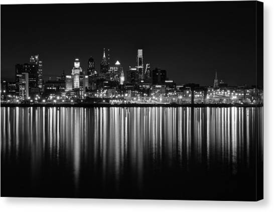 Nightfall In Philly B/w Canvas Print