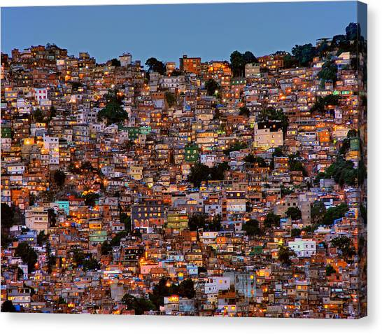 House Canvas Print - Nightfall In The Favela Da Rocinha by Adelino Alves