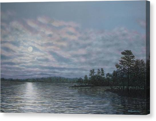 Nightfall - Moonrise On The Waterfront Canvas Print