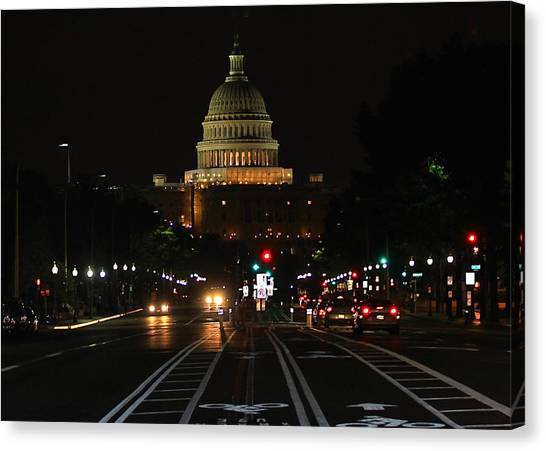 Nightime On Capitol Hill Canvas Print by DustyFootPhotography
