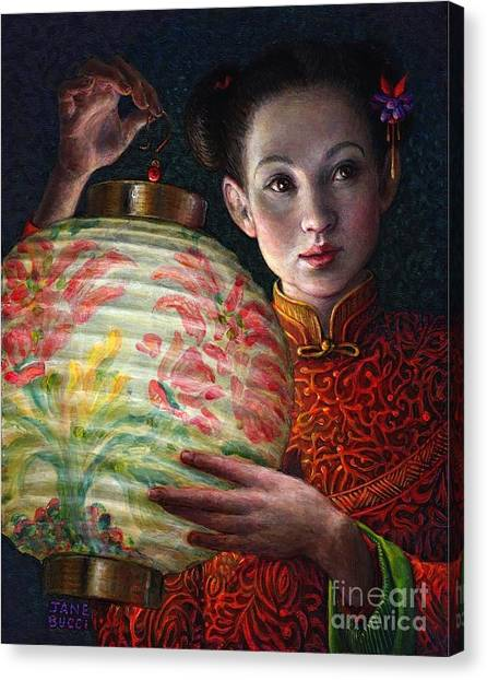 Night Lights Canvas Print - Nightingale Girl by Jane Bucci