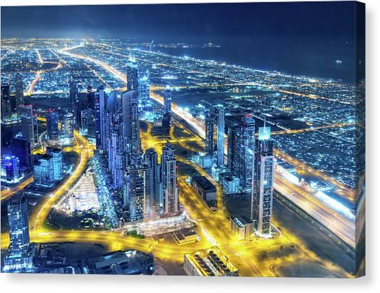 Nightlife In Dubai Canvas Print by Valentinrussanov
