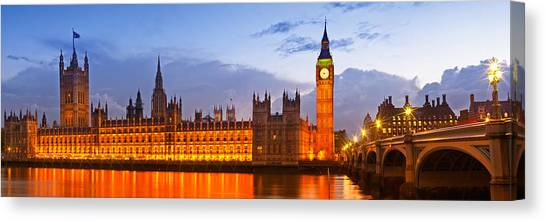 Palace Of Westminster Canvas Print - Nightly View - Houses Of Parliament by Melanie Viola