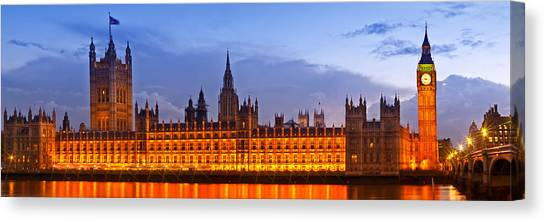 Palace Of Westminster Canvas Print - Nightly View London Houses Of Parliament by Melanie Viola