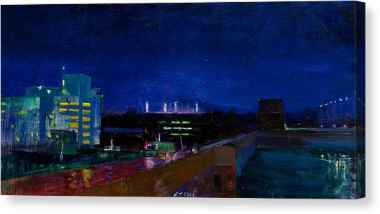 University Of Virginia Canvas Print - Nighttime In Charlottesville by Edward Thomas