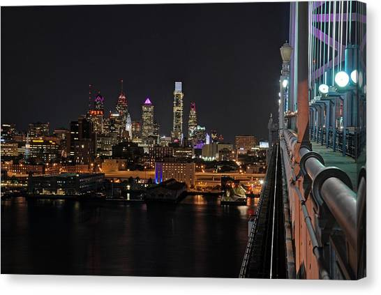 Nighttime Philly From The Ben Franklin Canvas Print