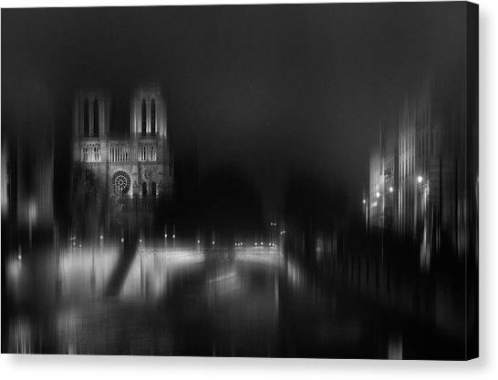Cathedrals Canvas Print - Nigth - Catha?drale Notre Dame by Sol Marrades