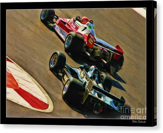 Niki Lauda Leads Mario Andretti Canvas Print