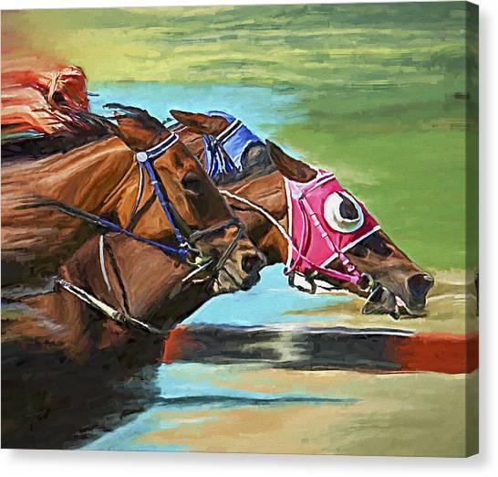 Race Horses Canvas Print - Nikita By A Head by David Wagner