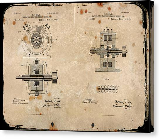 Nikola Tesla's Alternating Current Generator Patent 1891 Canvas Print