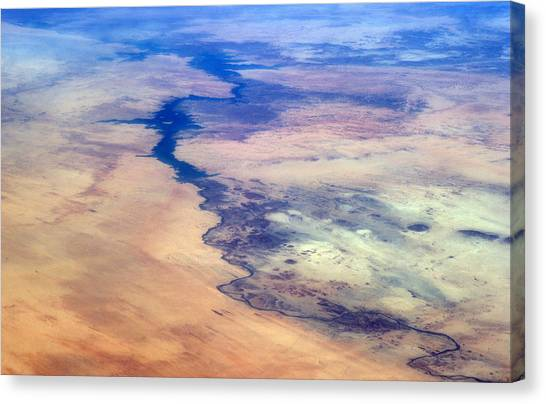 Satellite Canvas Print - Nile River From The Iss by Science Source