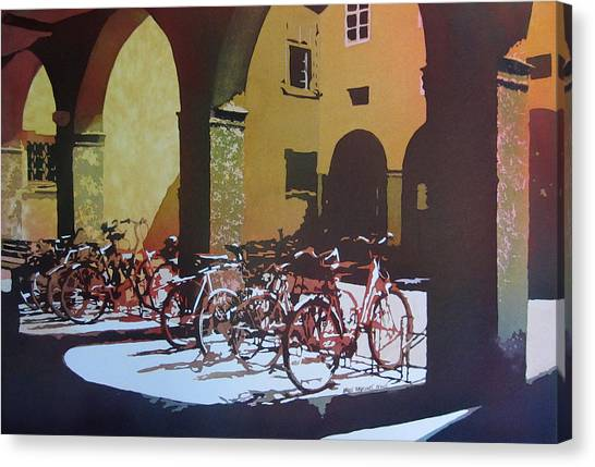 Nine Bicycles Canvas Print