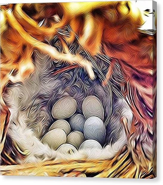 Finches Canvas Print - #nine #finch #eggs #fincheggs by Lori Lynn Gager