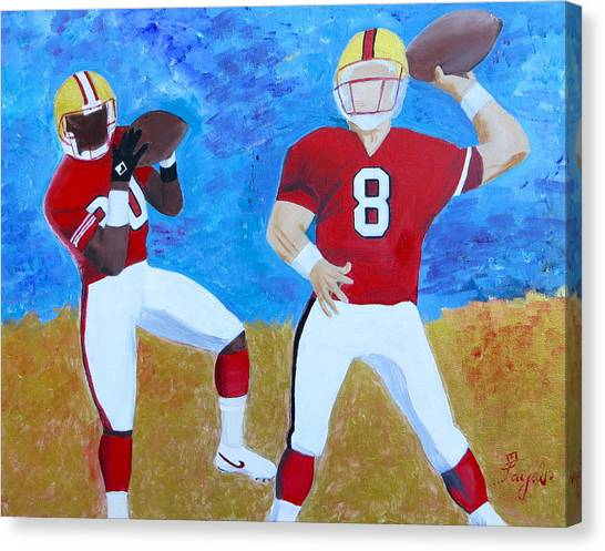 Jerry Rice Canvas Print - Niners Classic Duo by Artistic Indian Nurse