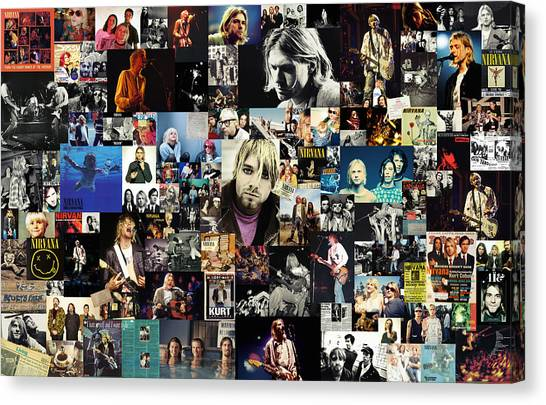 Rock Music Canvas Print - Nirvana Collage by Zapista Zapista