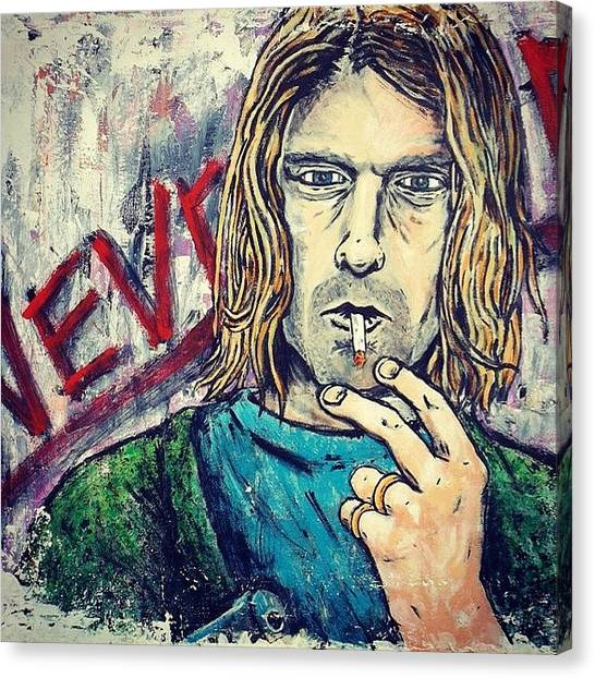 Kurt Cobain Canvas Print - #nirvana #nevermind #kurtcobain by Matthew Martnick