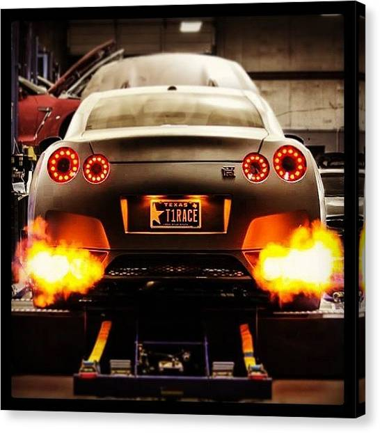 Japanese Canvas Print - #nissan #gtr #fire #flames #dyno #power by John Lowery-brady