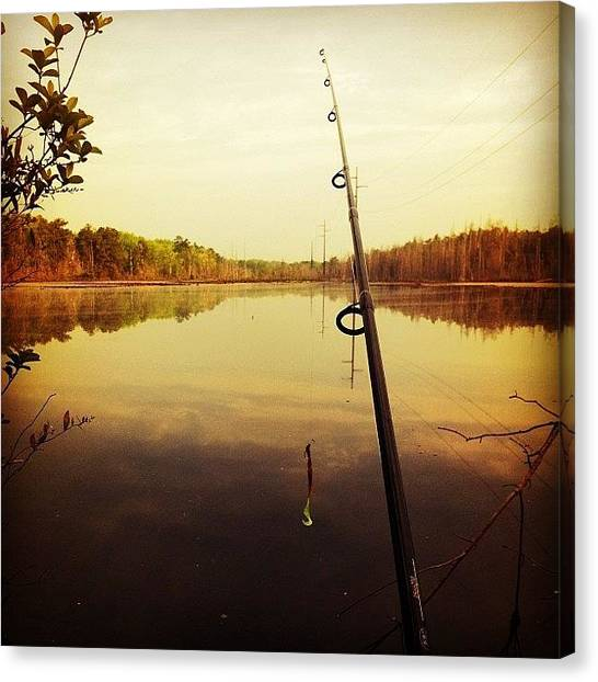 Bass Fishing Canvas Print - No Better Place To Be.  #fishing #bass by John Pangborn