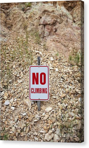 Canvas Print featuring the photograph No Climbing Sign by Bryan Mullennix