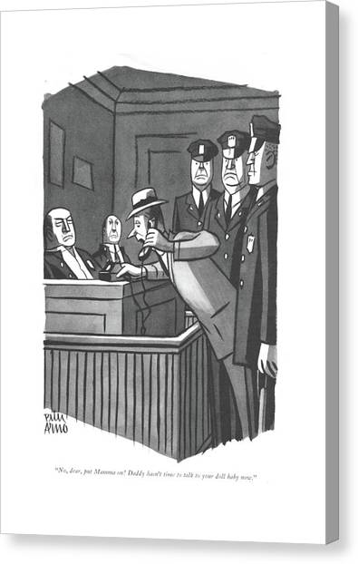 Nypd Canvas Print - No, Dear, Put Mamma On! Daddy Hasn't Time To Talk by Peter Arno