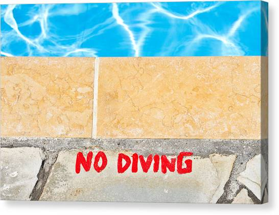 Caution Canvas Print - No Diving by Tom Gowanlock
